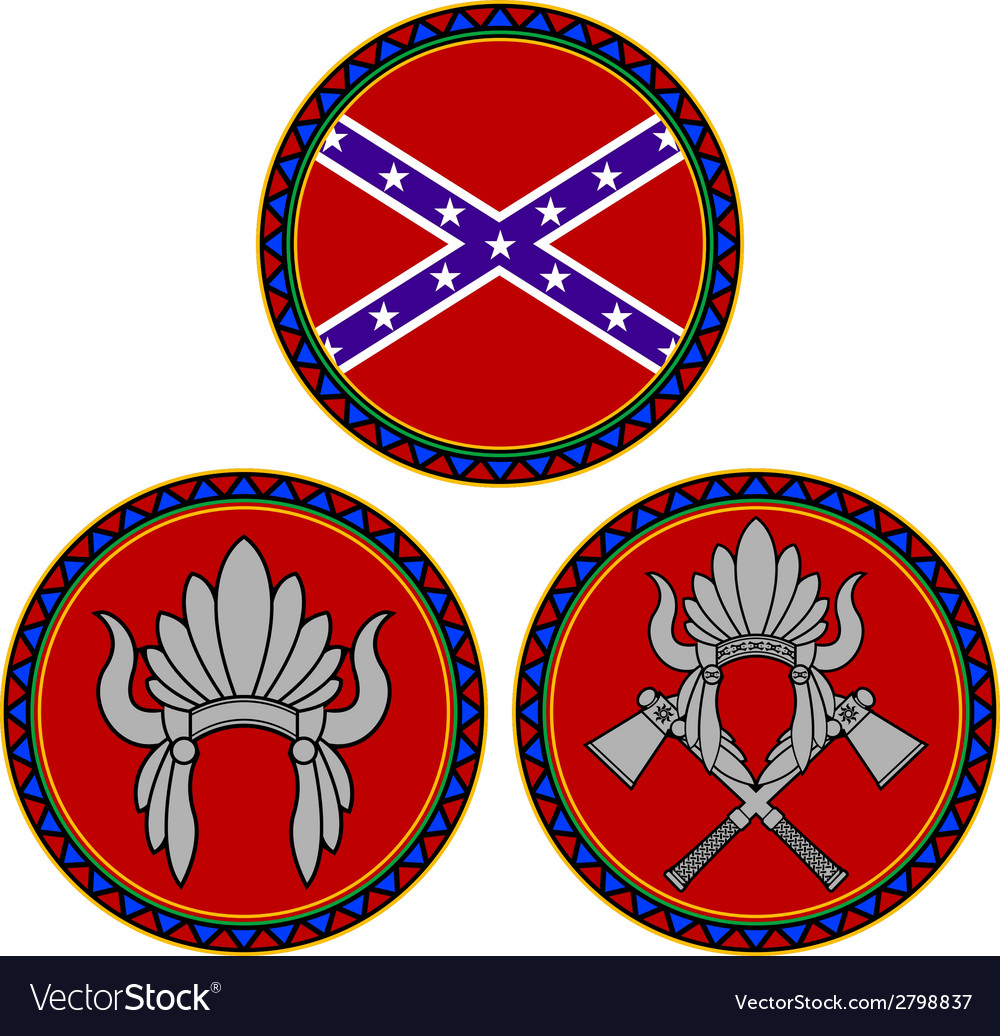 Confederate flag and indian headdress