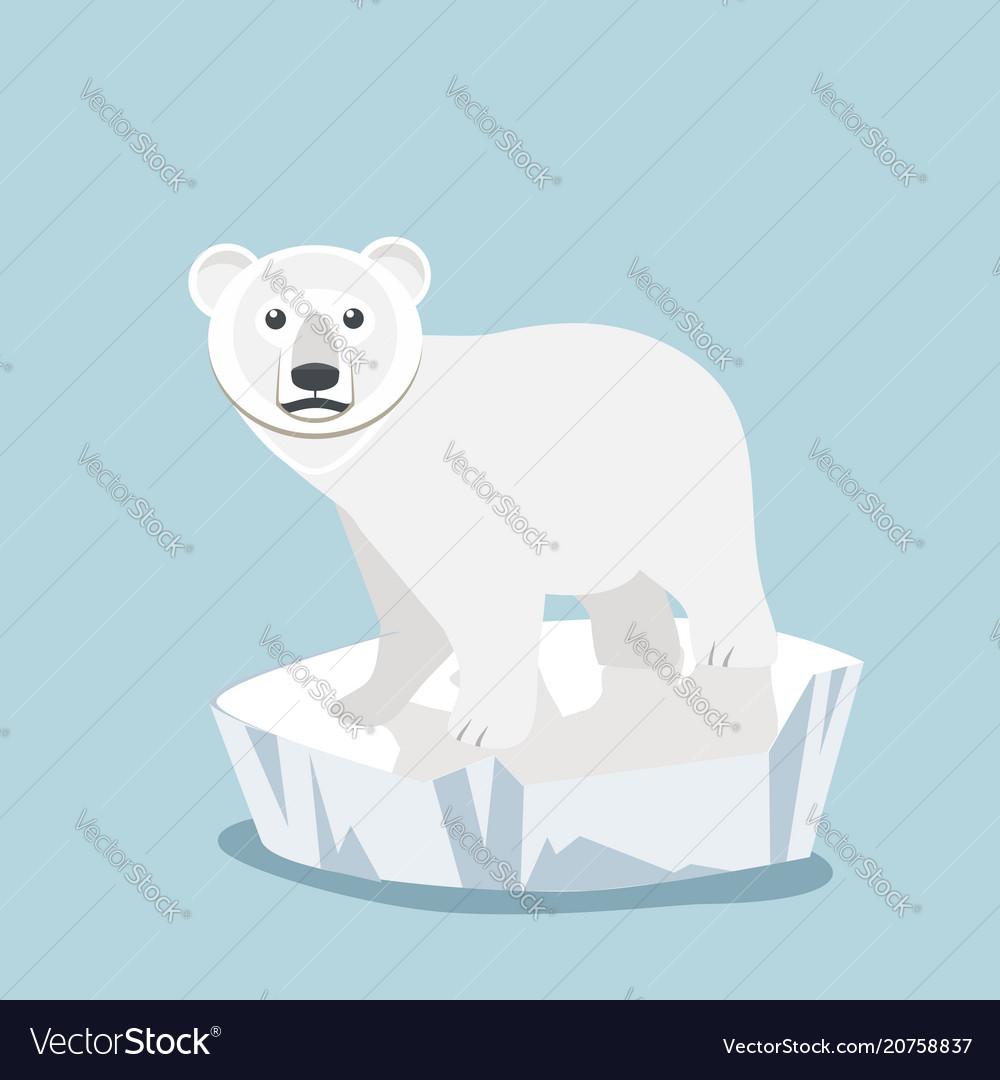 Cute Baby Polar Bear On Ice Floe Royalty Free Vector Image