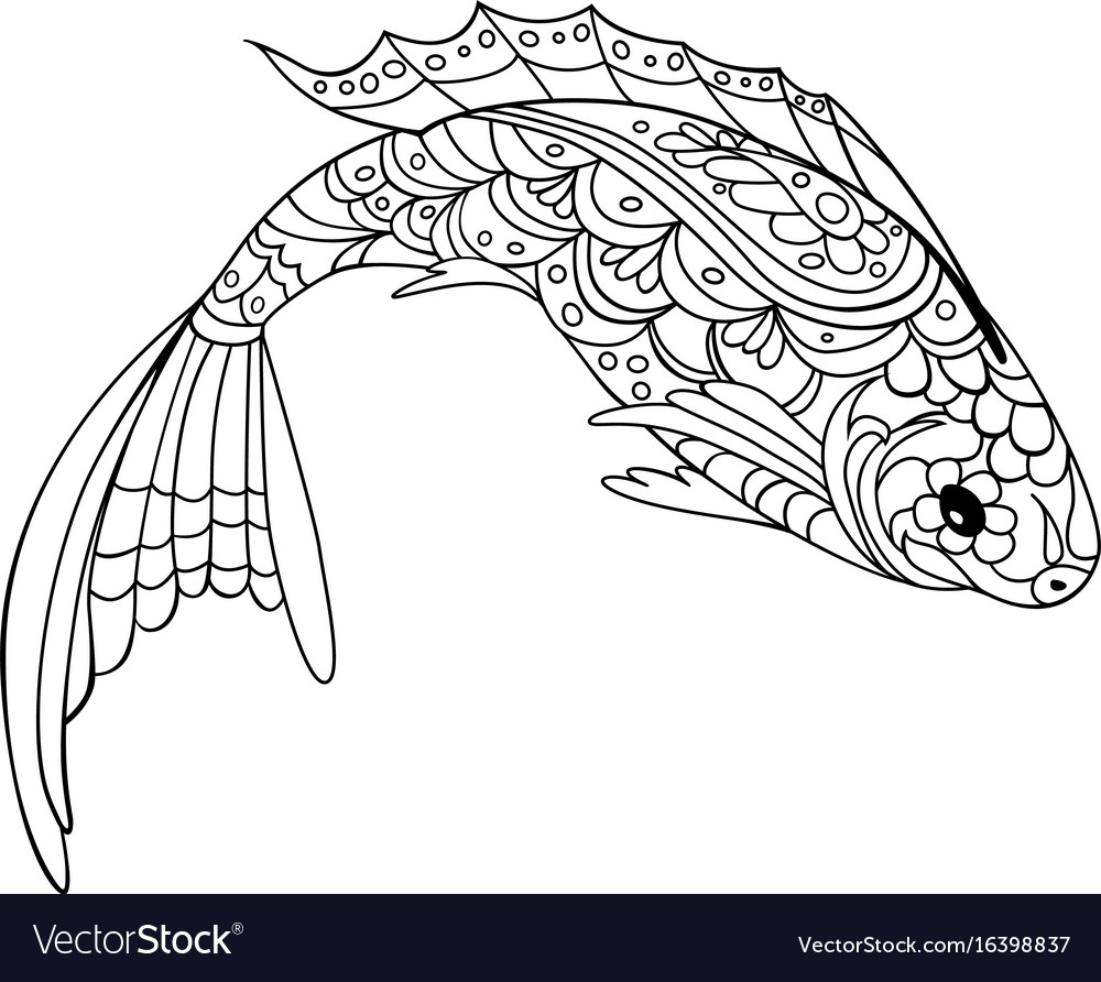 - Fish Zentangle Style Coloring Book For Adult And Vector Image