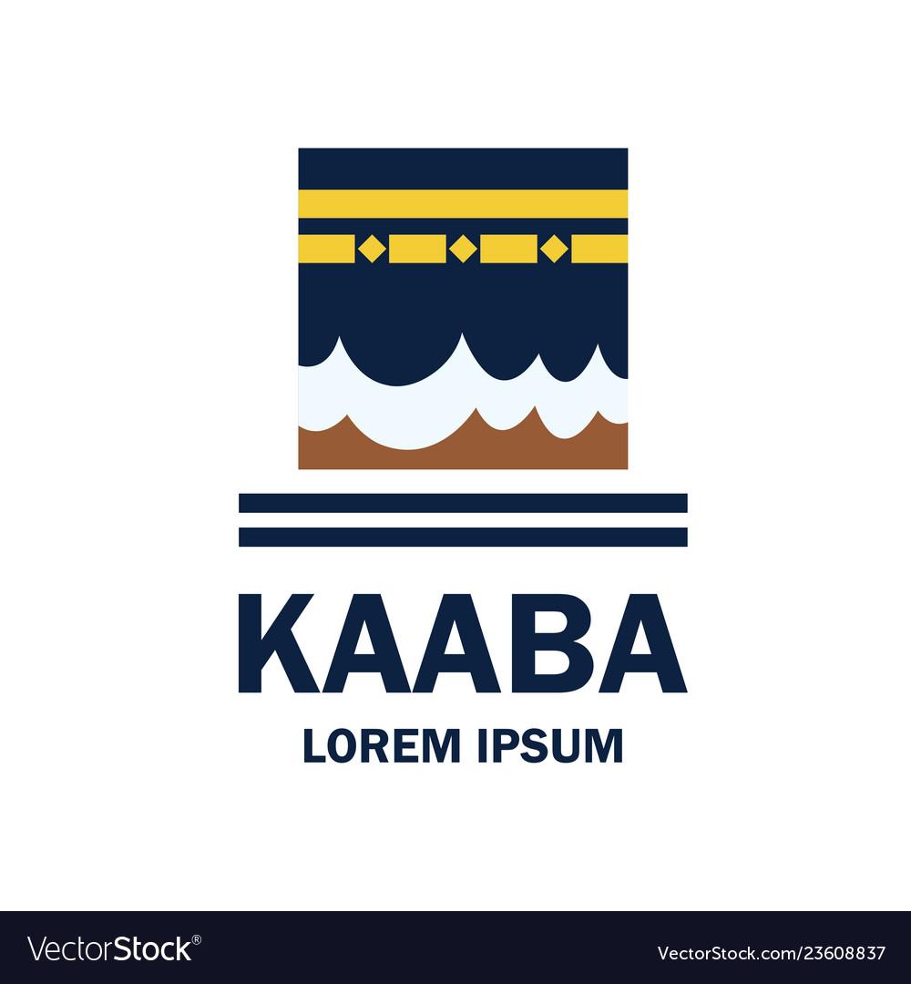 makkah kaaba hajj omra logo with text space r vector image vectorstock