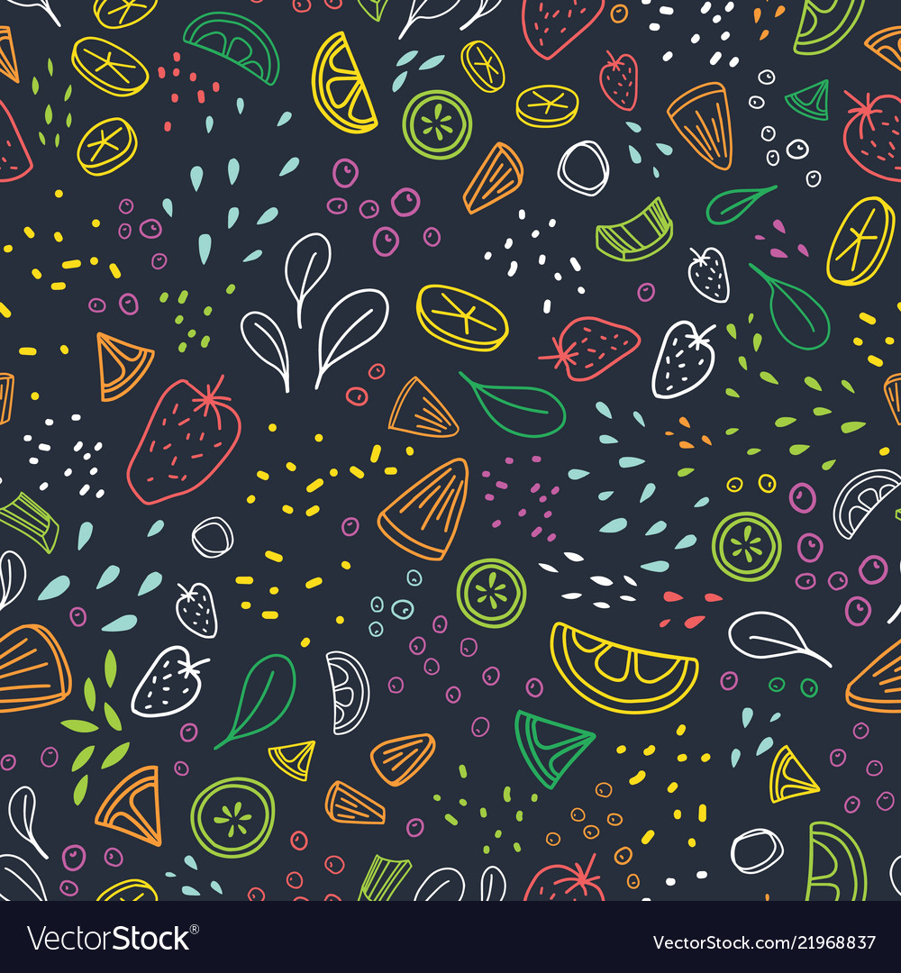 Modern seamless pattern with pieces of delicious