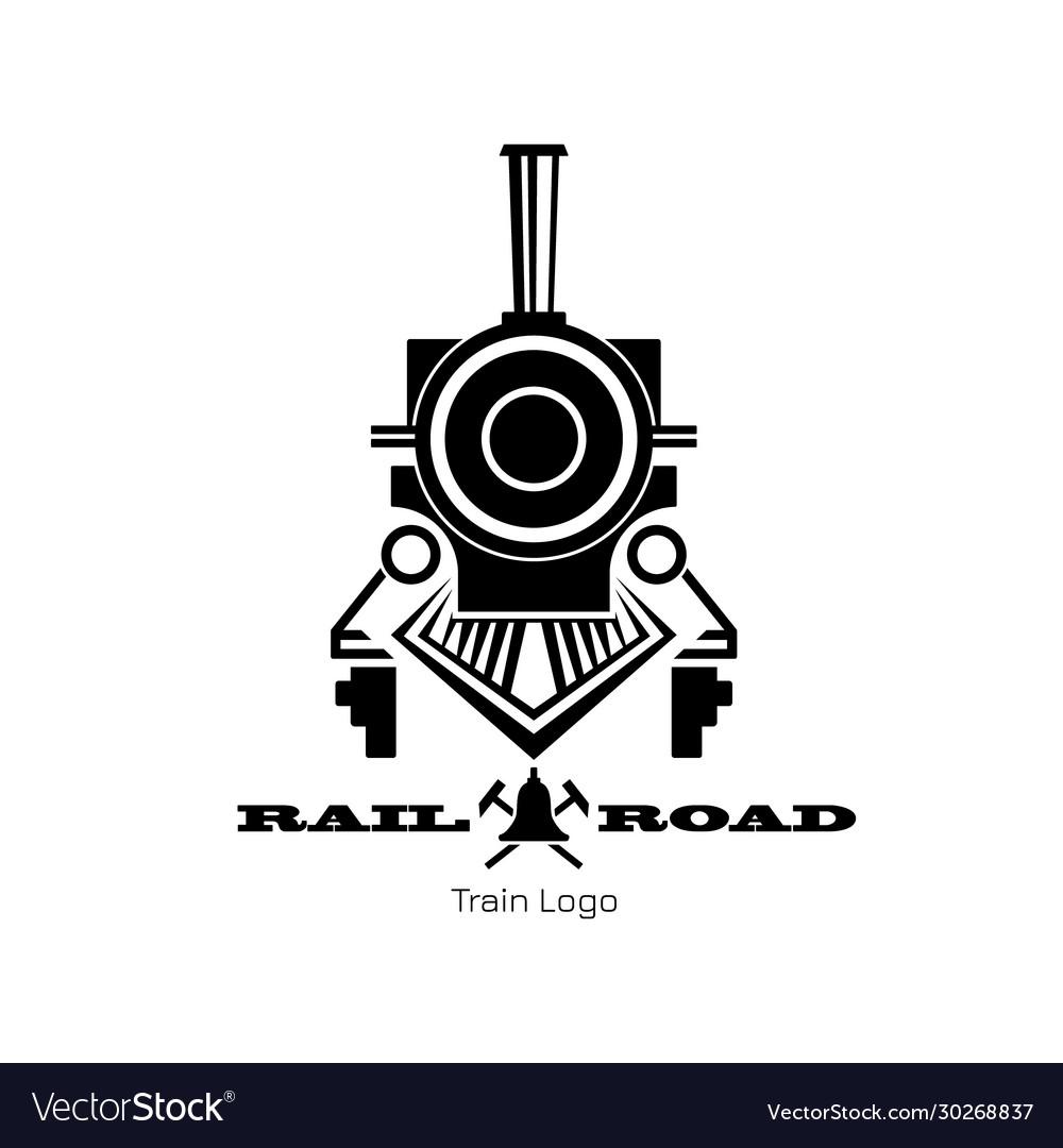 Retro trail logo black silhouette locomotive