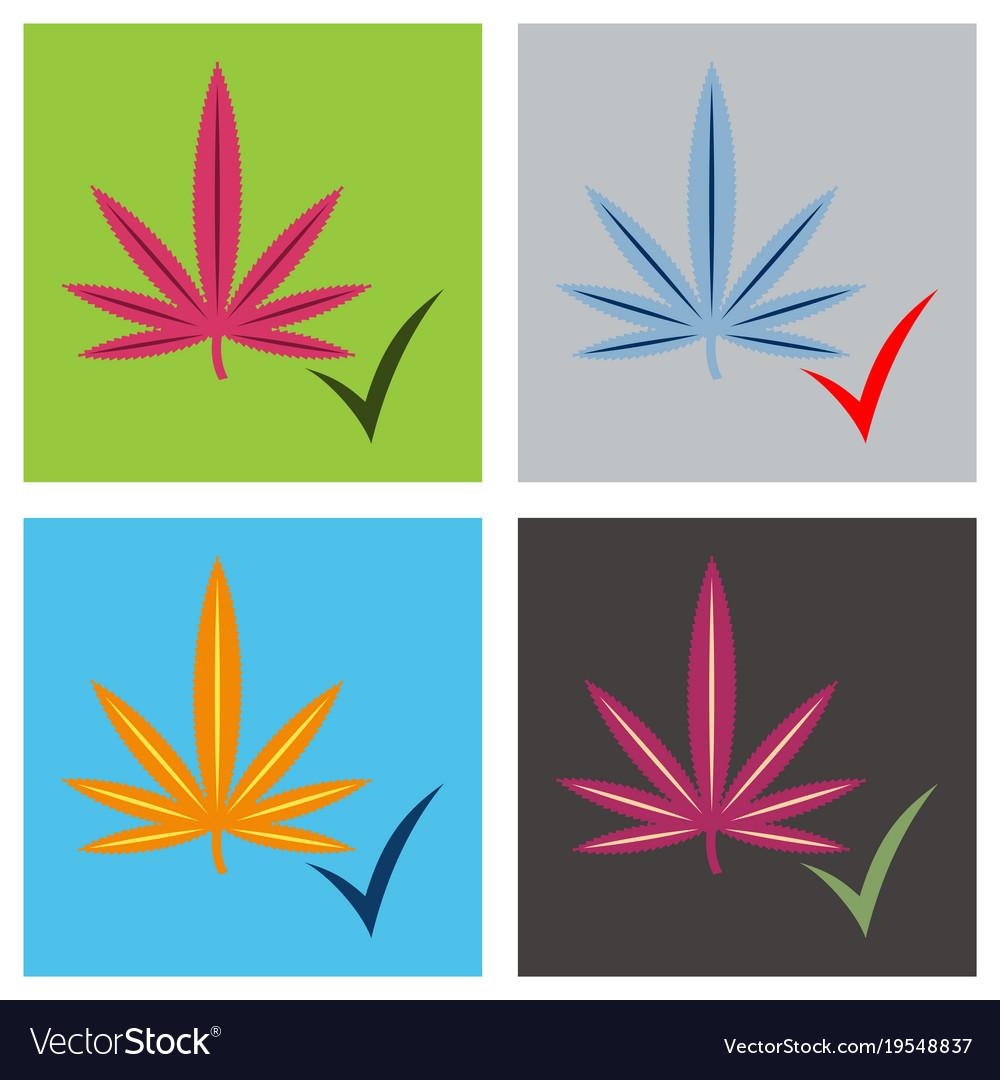 Set of flat hand drawn color botanical of hemp Vector Image