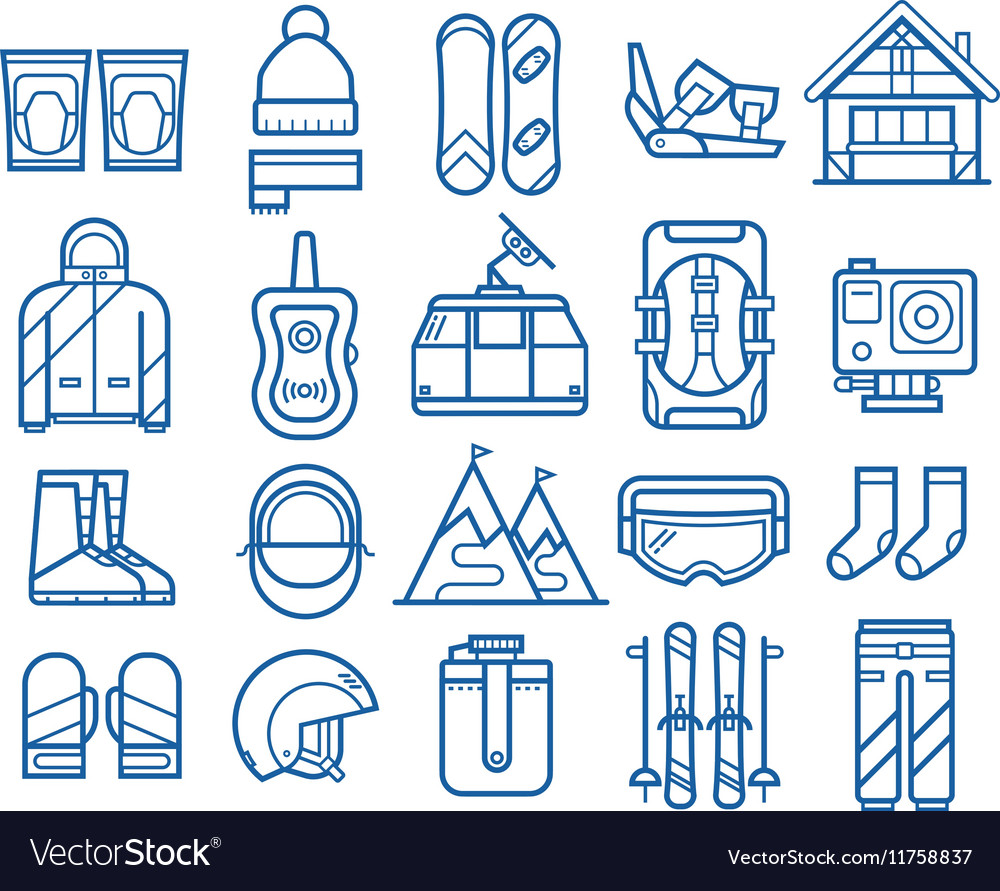 Snowboarding and Skiing Icons vector image