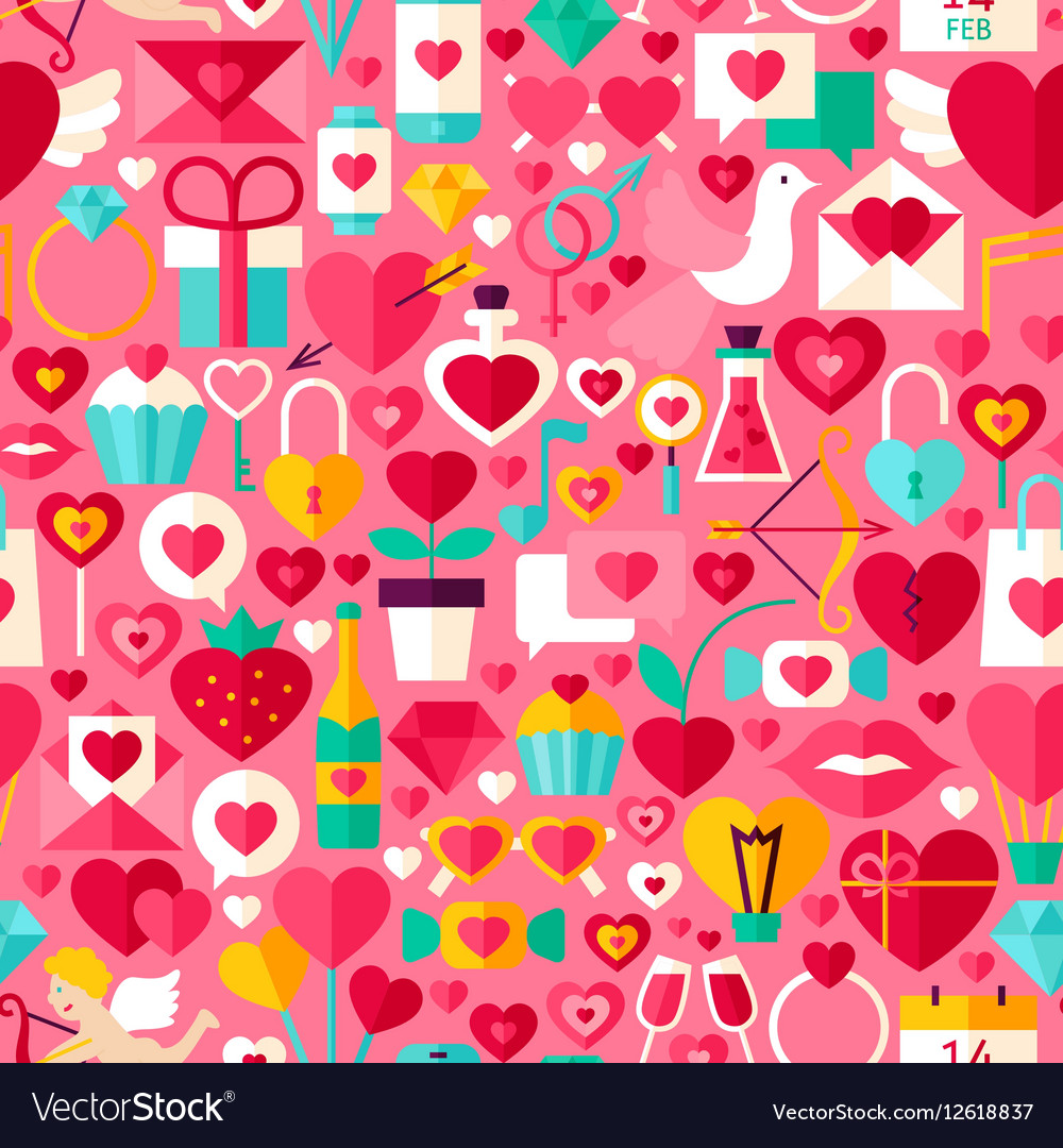 Valentine Day Pink Seamless Pattern