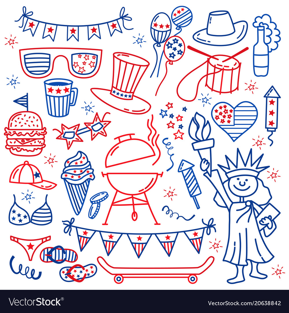 4 july usa independence day icons isolated on