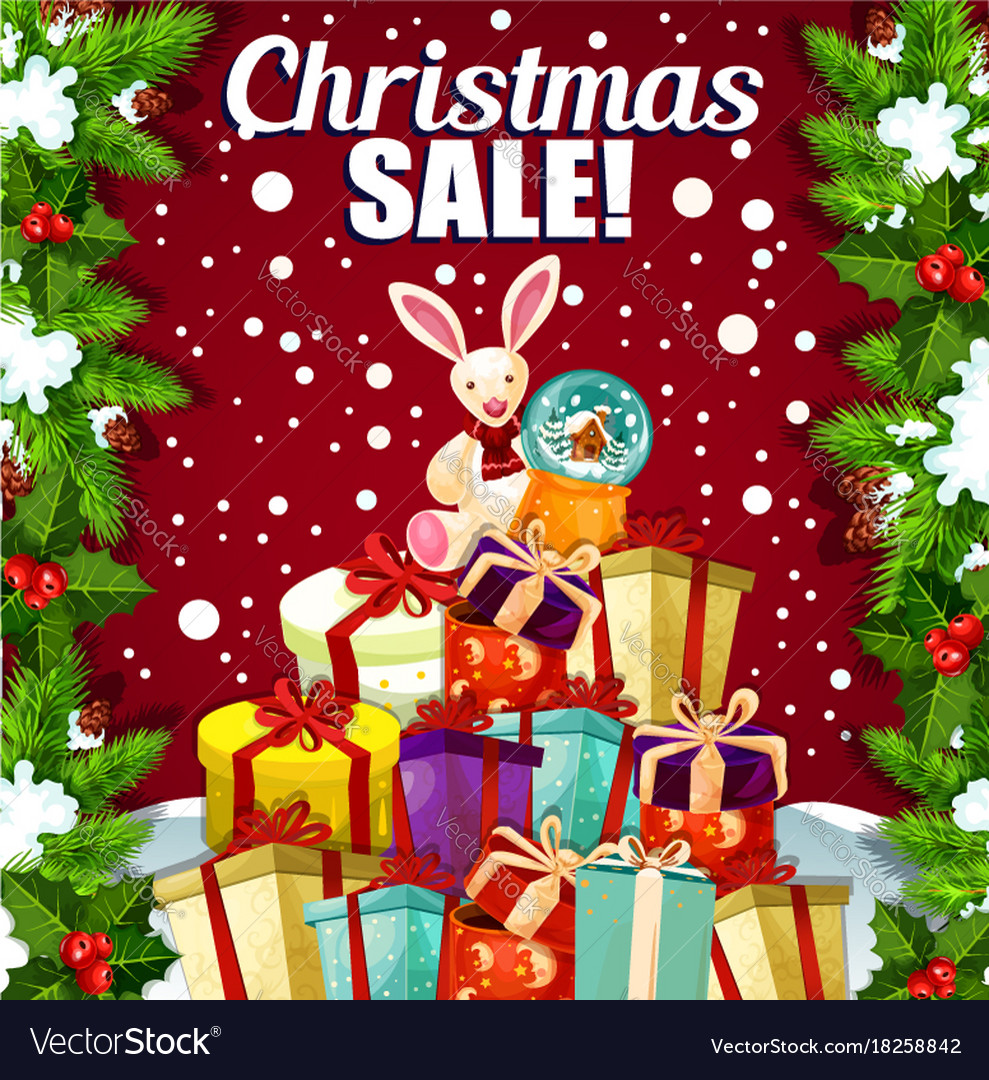 Christmas holiday sale promo gifts poster Vector Image