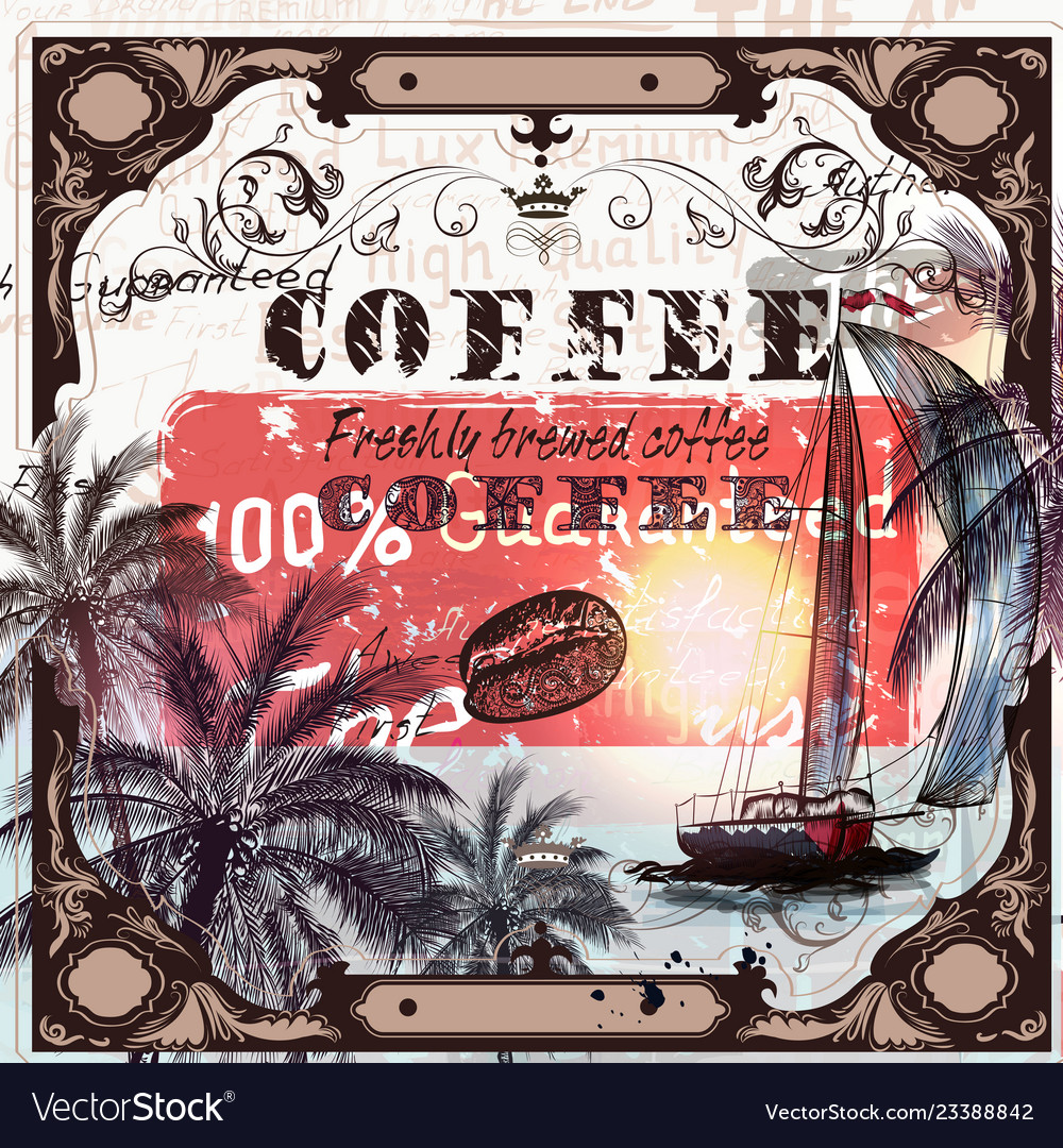 Coffee poster in vintage style