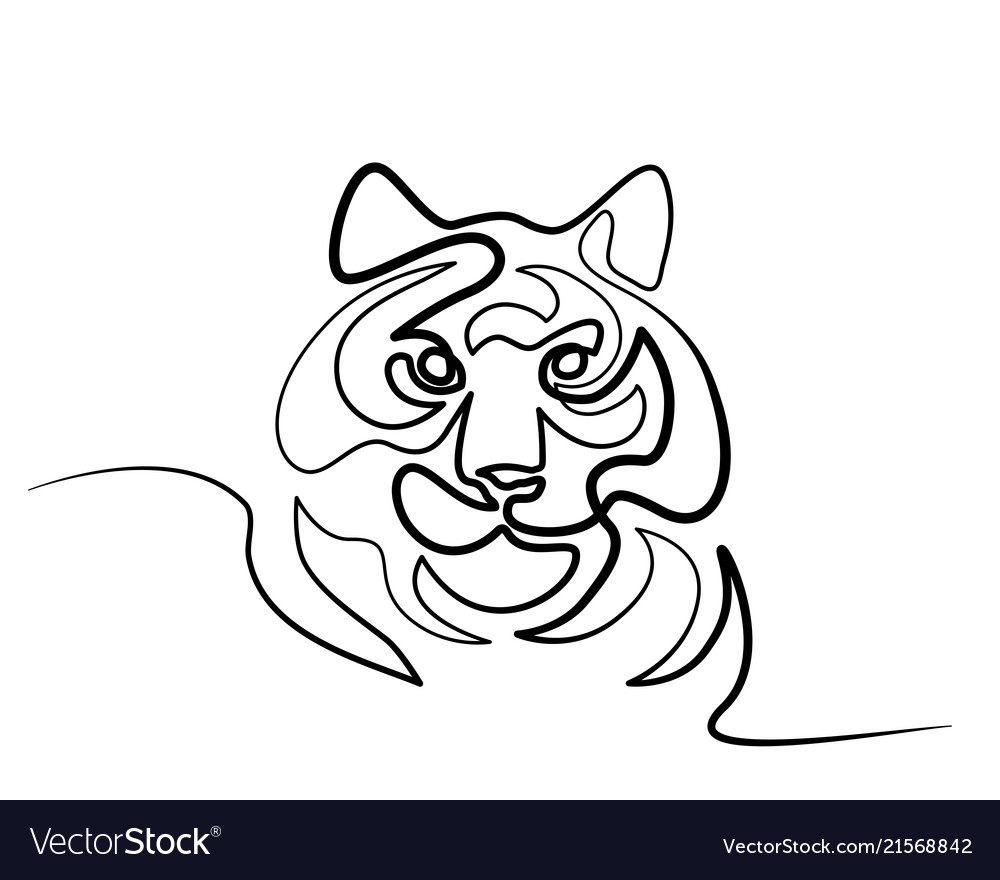 Continuous one line drawing tiger symbol logo