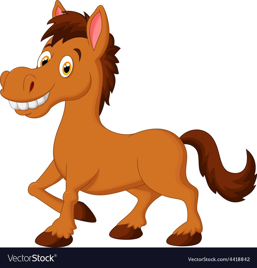 Cute cartoon brown horse Royalty Free Vector Image