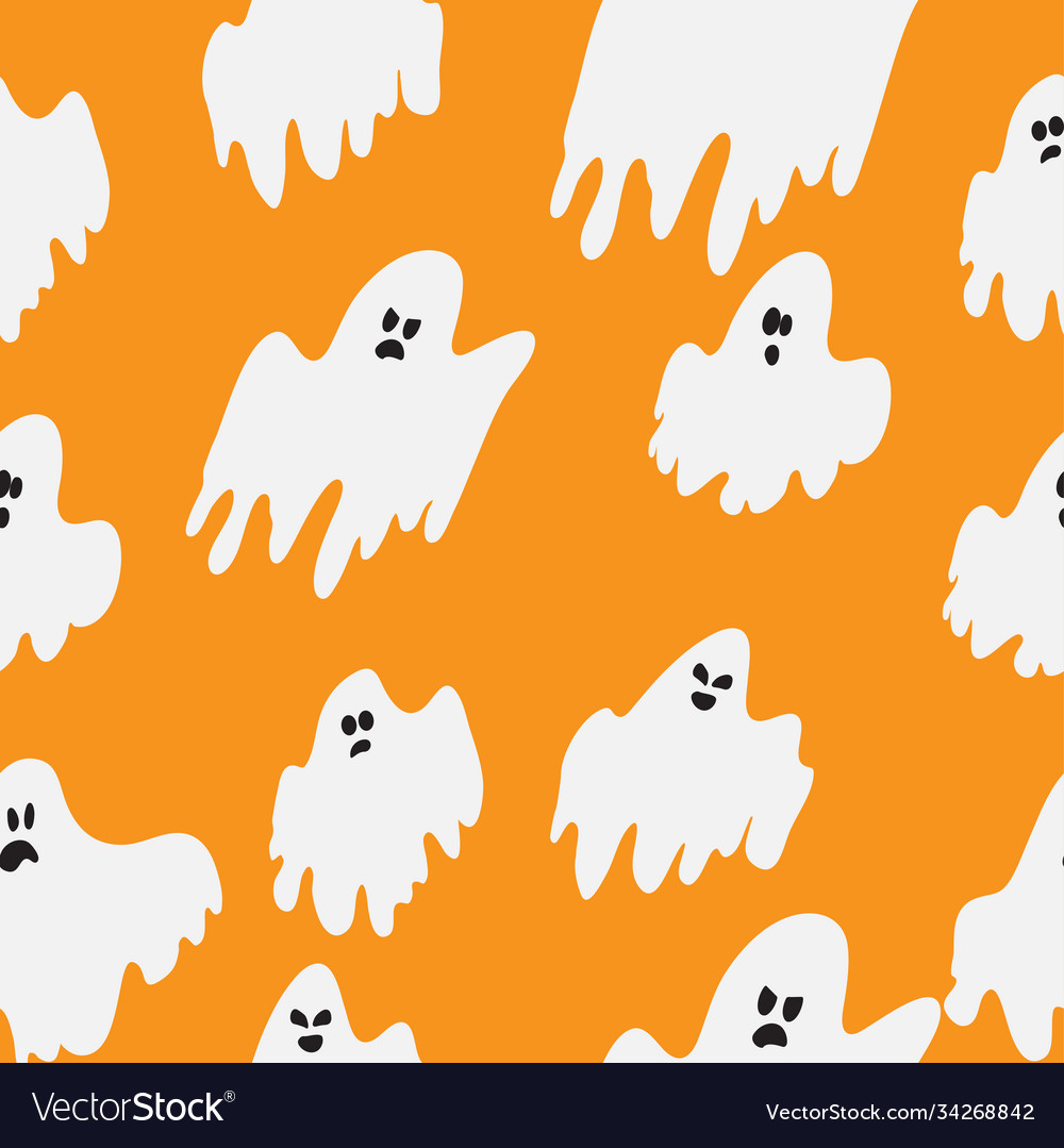 Halloween wrapping paper design with flying ghosts