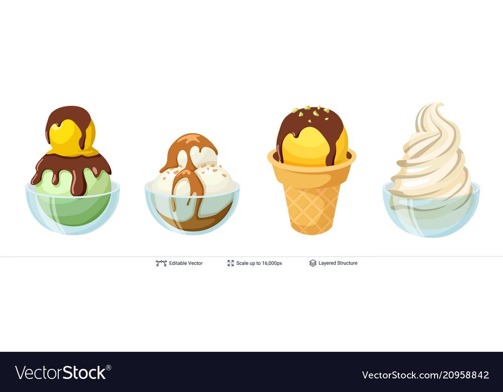 Ice cream refreshing desserts set
