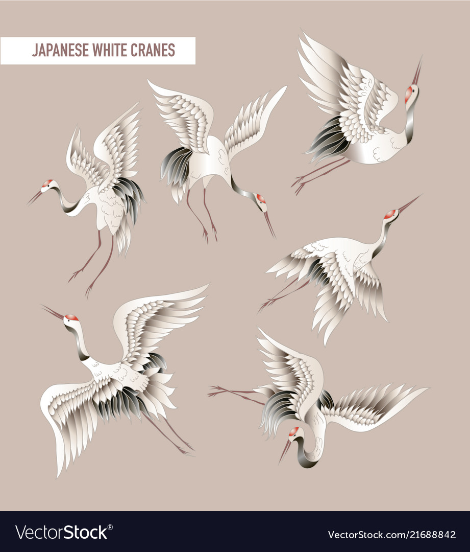 Japanese white crane in batik style
