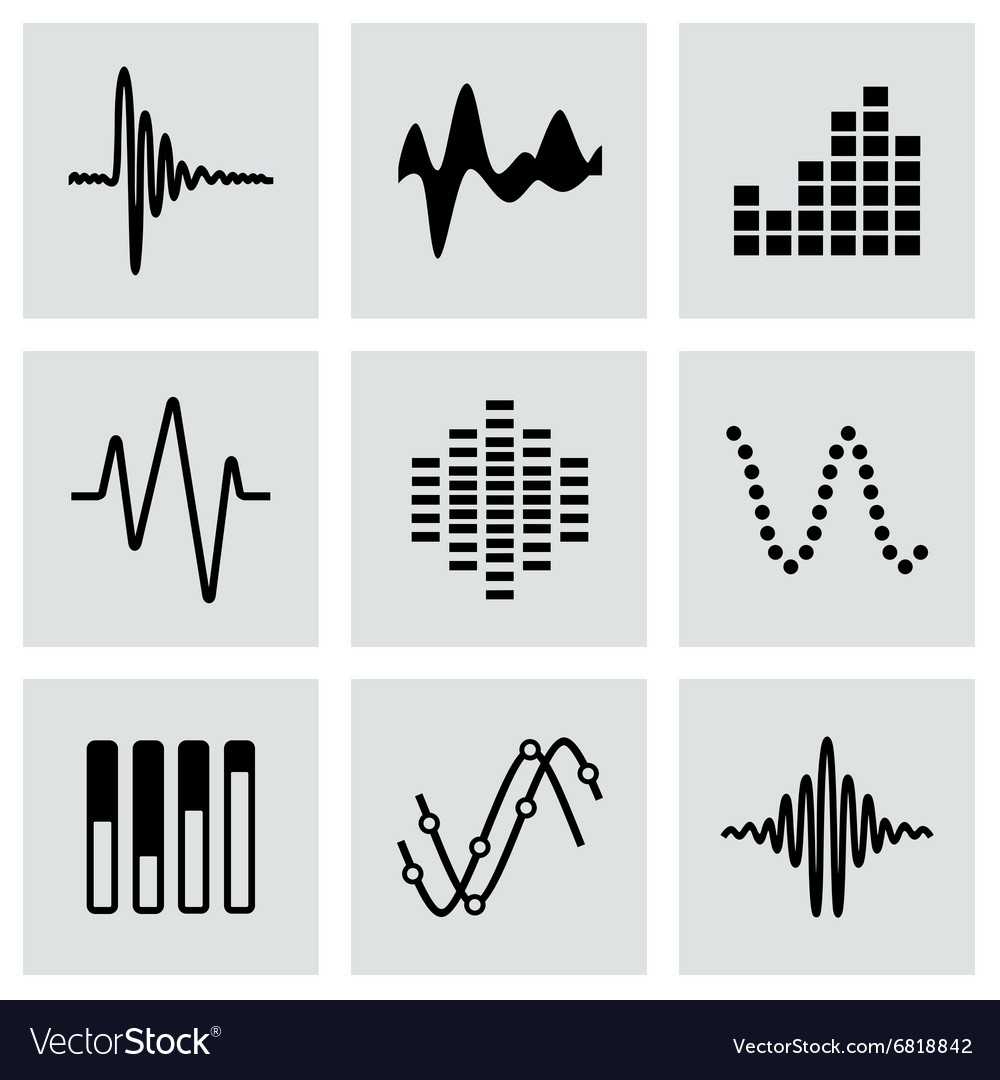 Music soundwave icon set