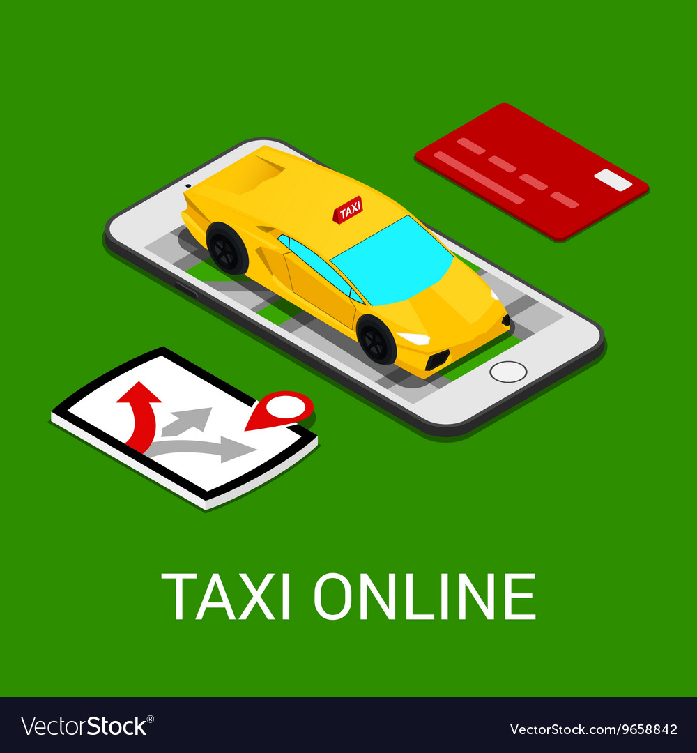 Taxi Service Mobile Application Isometric Car
