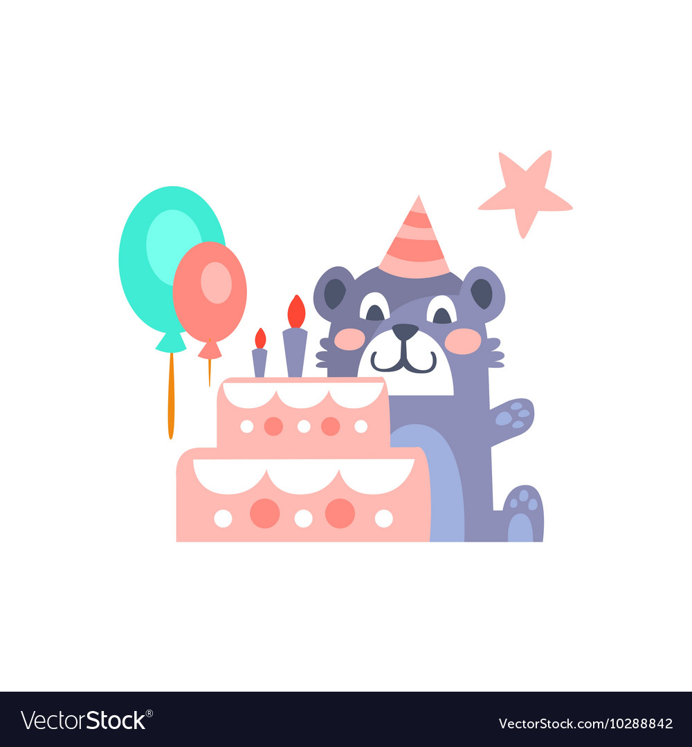 Teddy Bear With Party Attributes Girly Stylized vector image