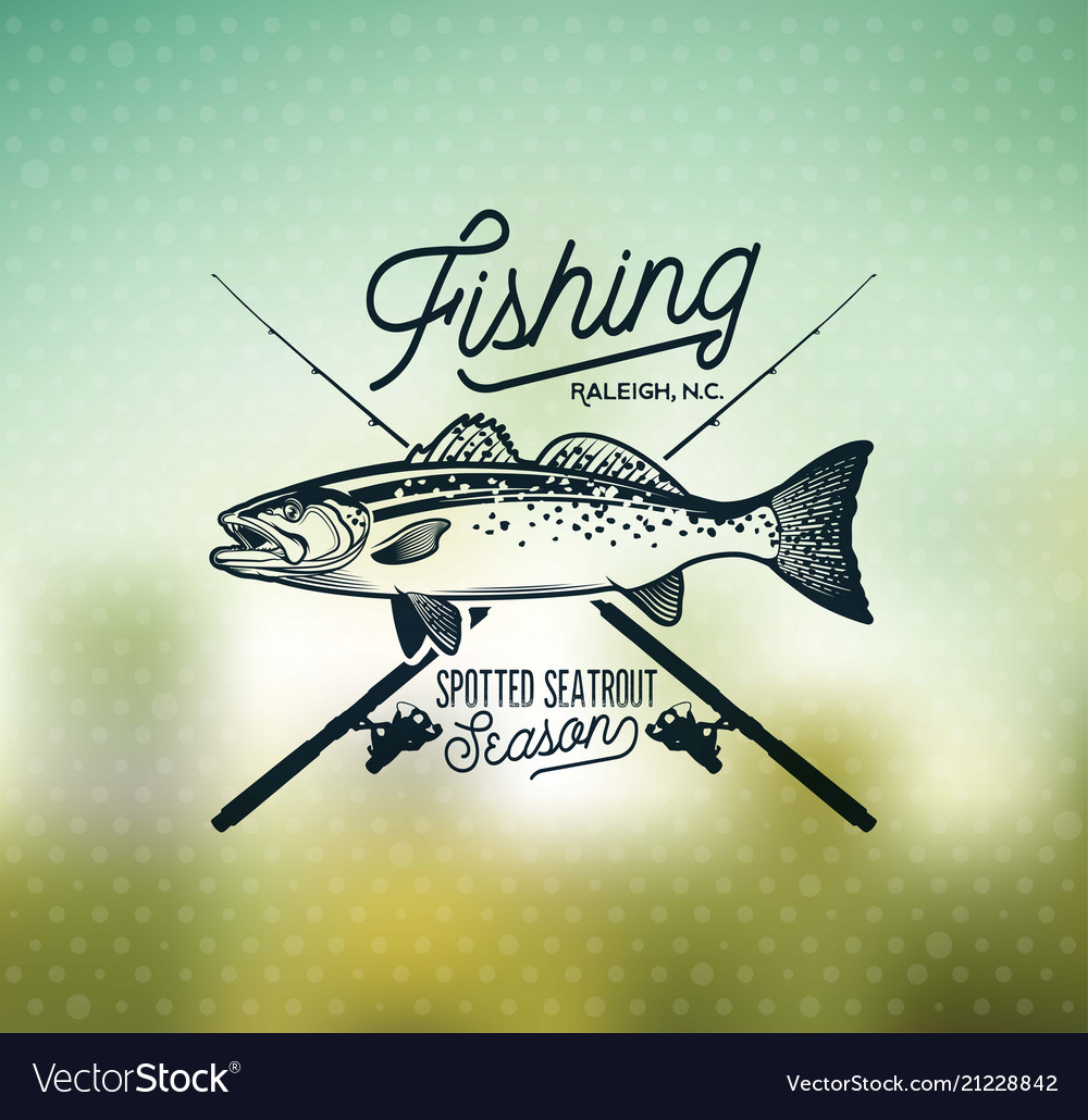Vintage sea trout fishing emblems labels and