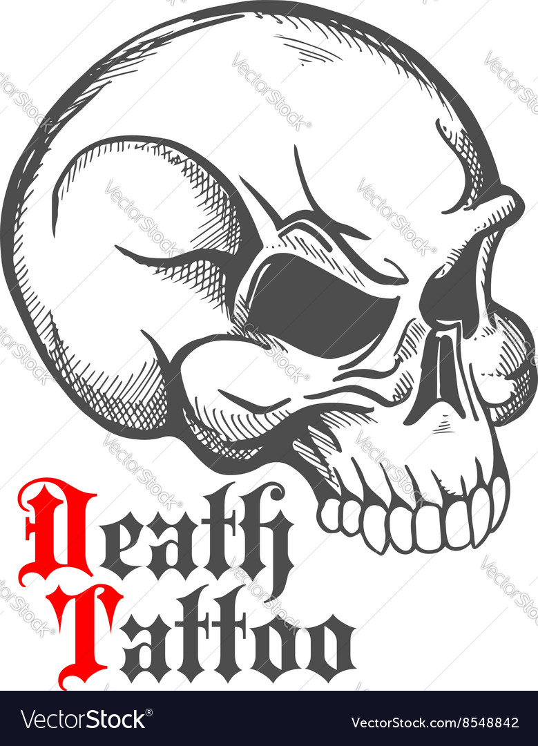 Vintage sketch of human skull for tattoo design
