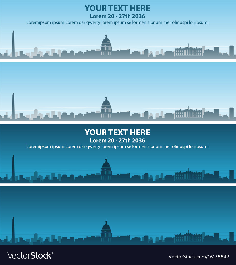 Washington skyline event banner vector image