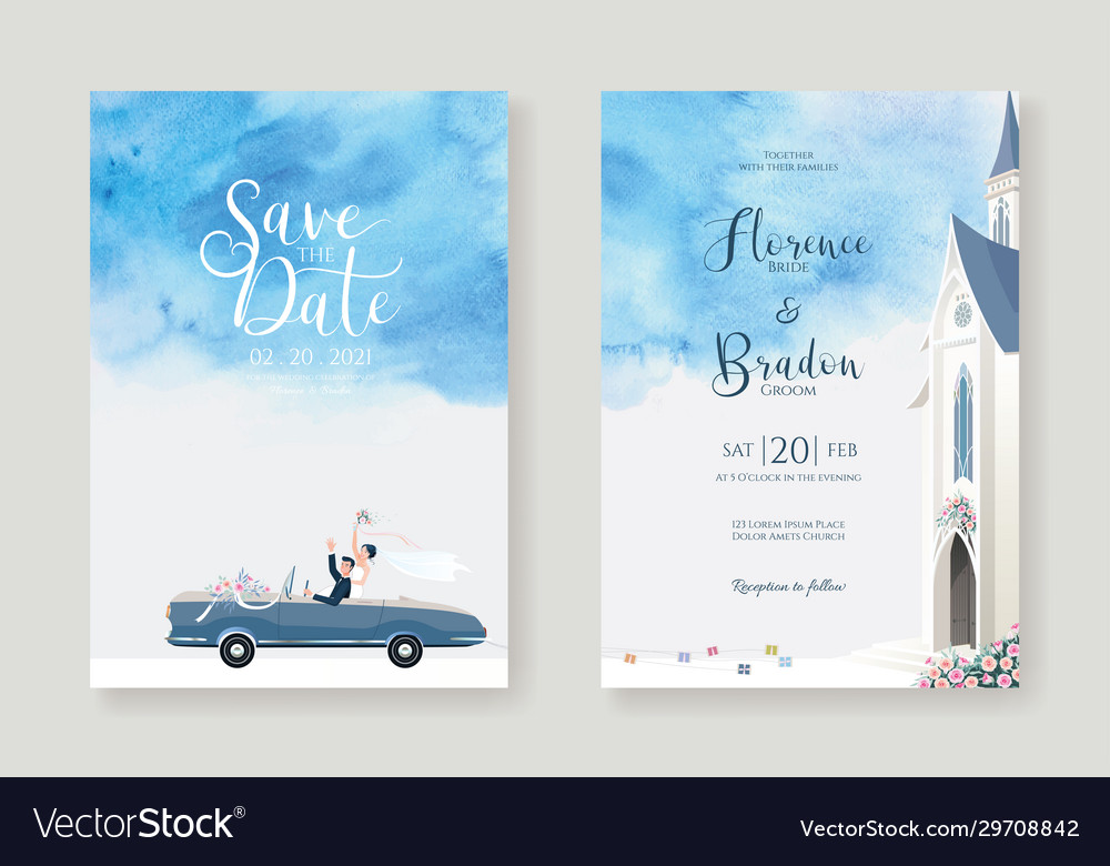 Wedding cards invitation save date template