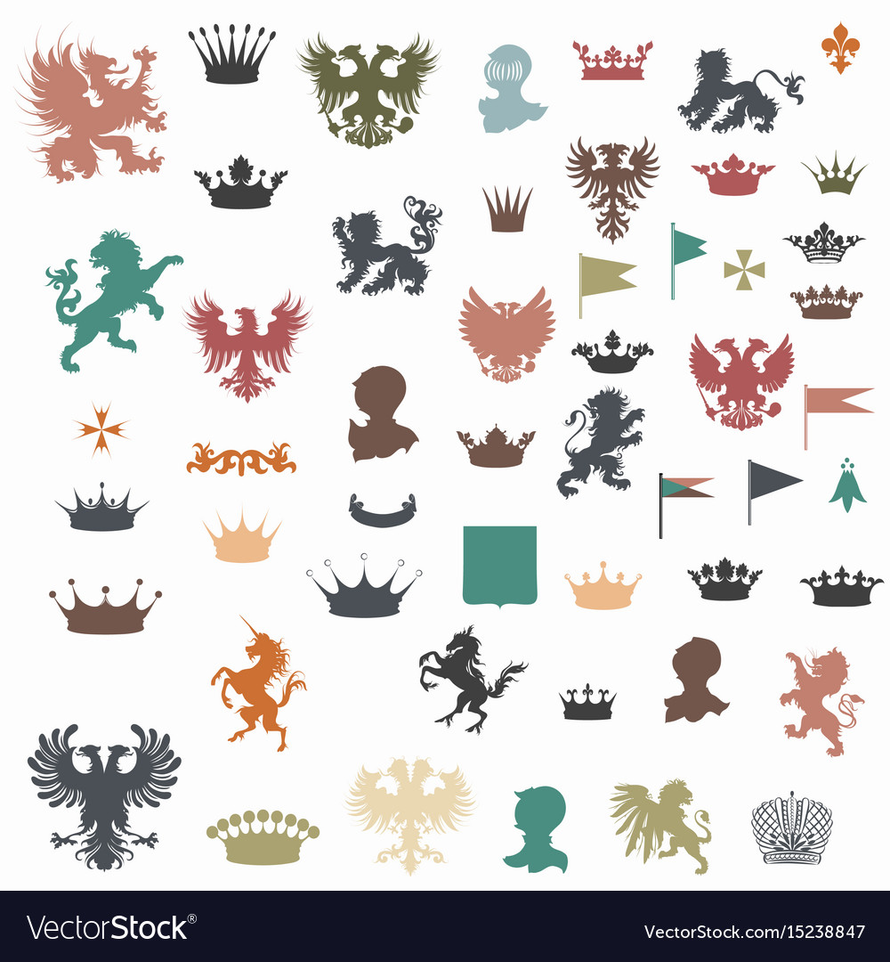 Big set of heraldic shapes