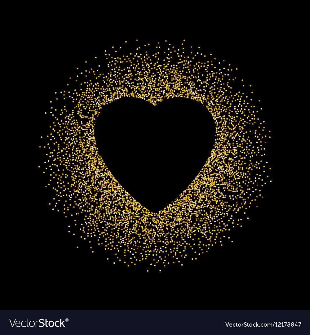 Black Abstract Background With Gold Glitter Heart