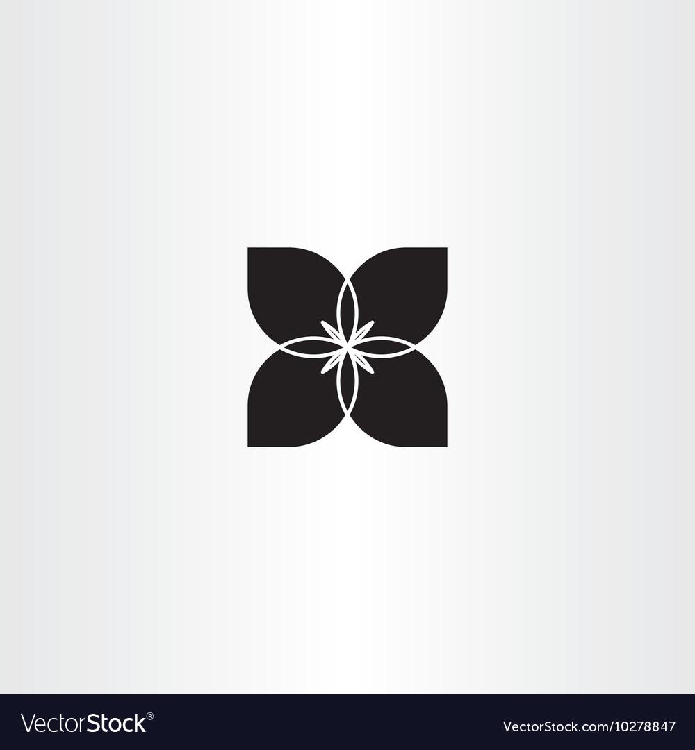 Black Flower Bow Tie Icon Symbol Royalty Free Vector Image