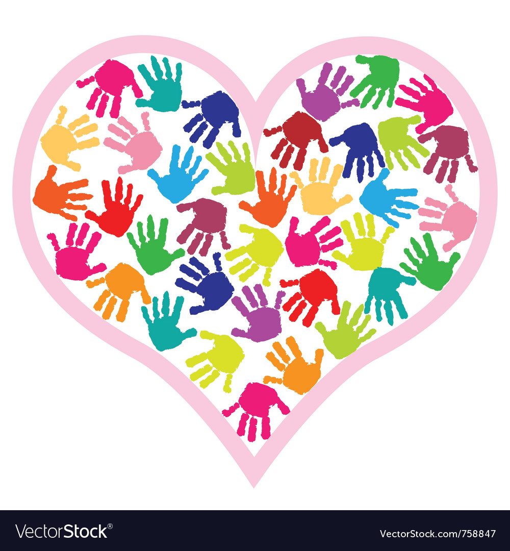 Handprint Heart Clipart Children hand prints i...