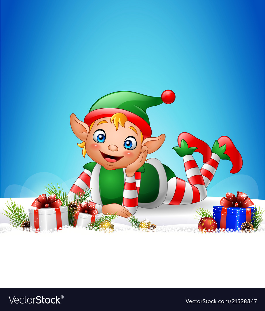 Christmas background with little elf laying on the