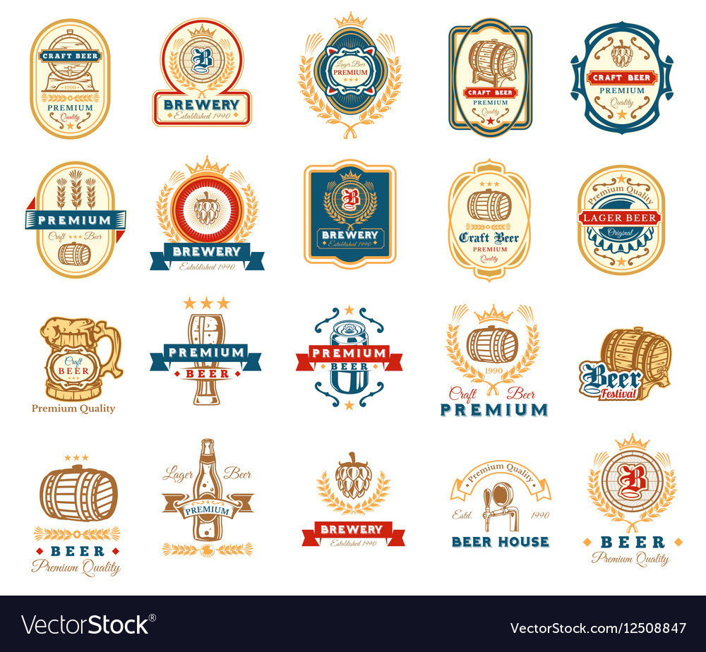 Collection of retro beer emblems badges stickers