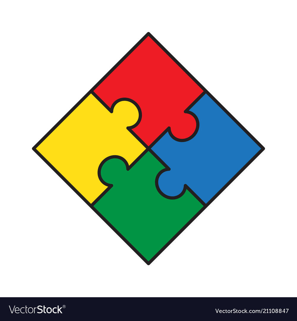 Colorful jigsaw puzzle four pieces isolated