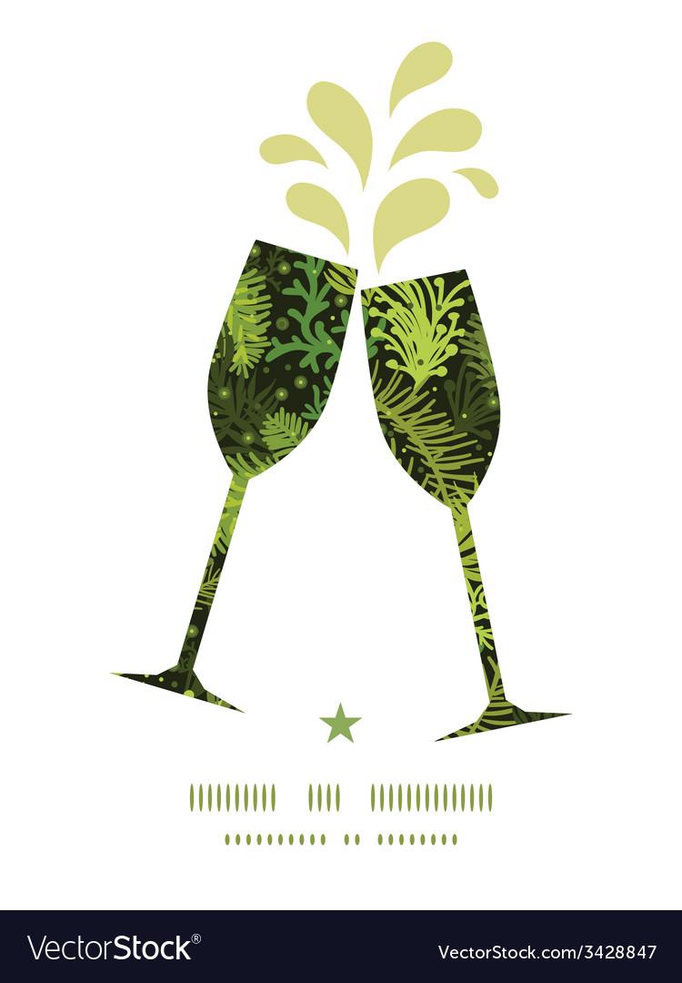 Evergreen christmas tree toasting wine glasses vector image