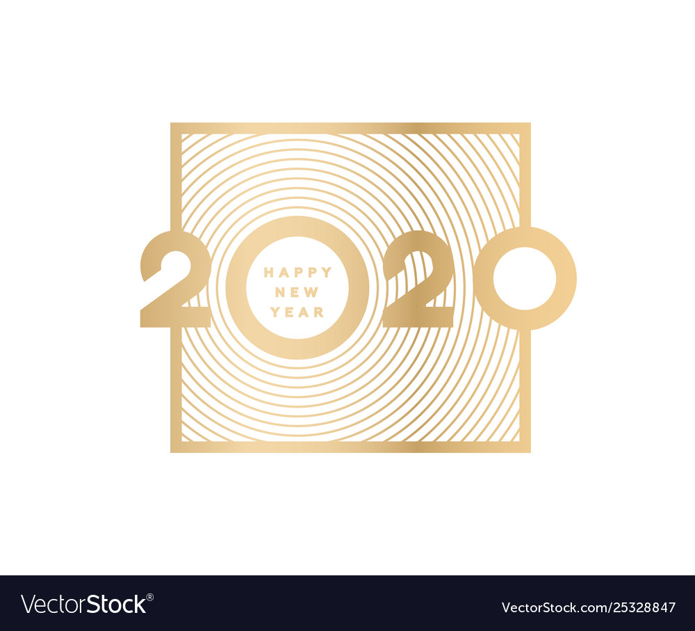 Happy new year gold numbers 2020