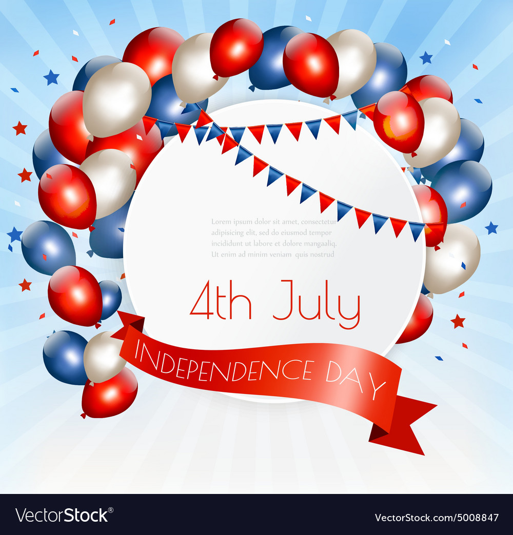 Holiday American background with colorful balloons