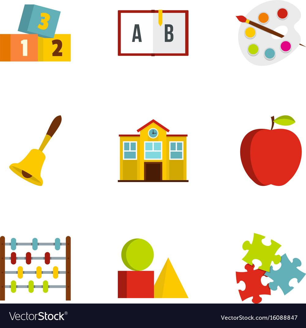 Kindergarten icons set flat style