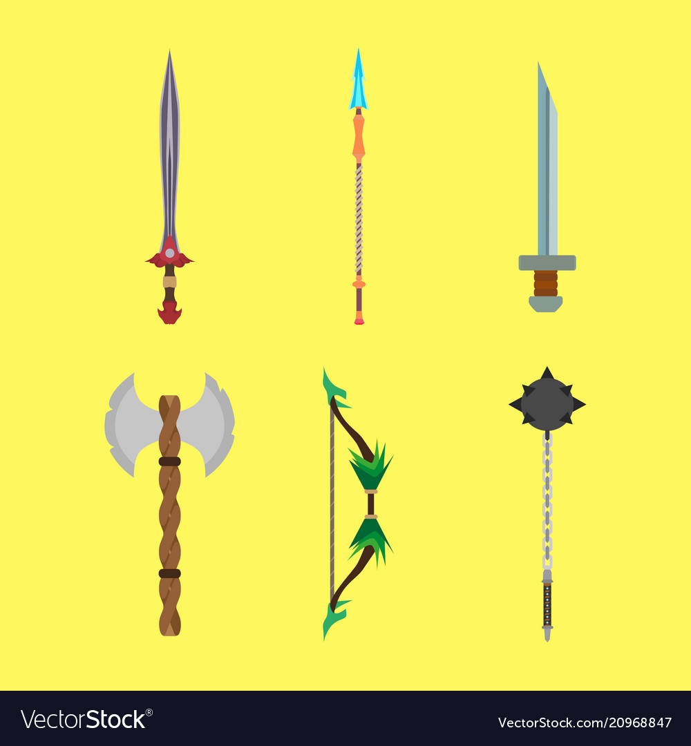 Medieval cartoons weapons set concept flat design