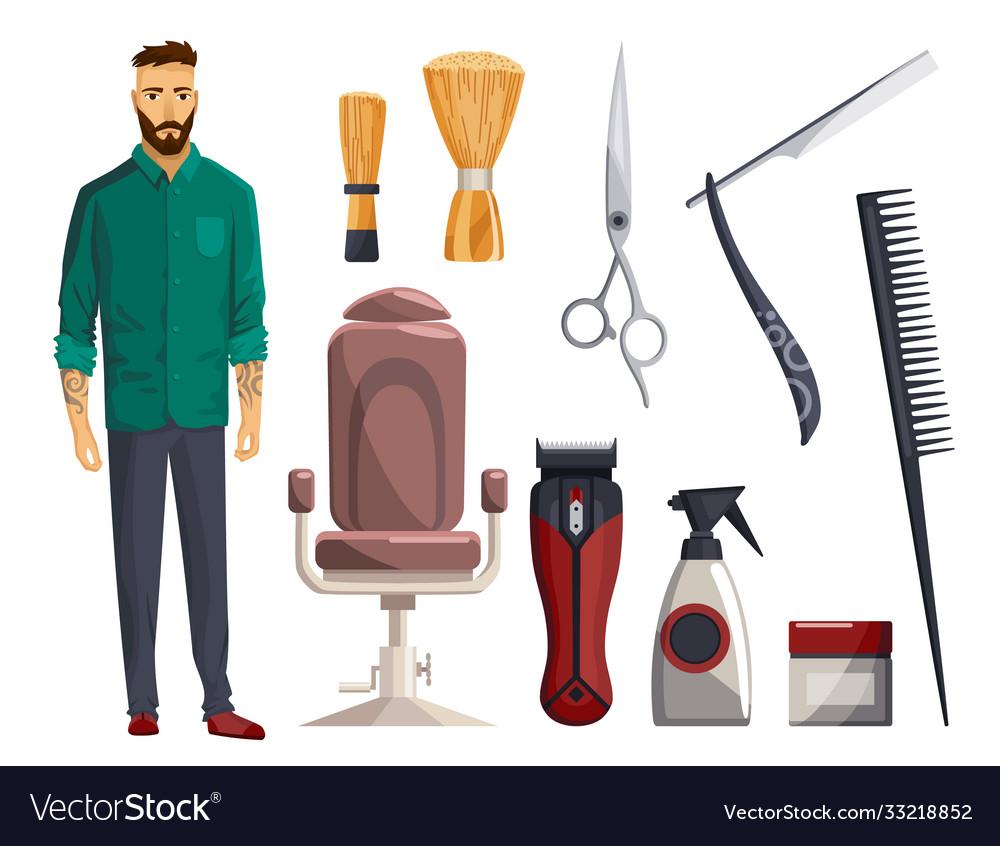 Barbershop equipments vintage barber shop set