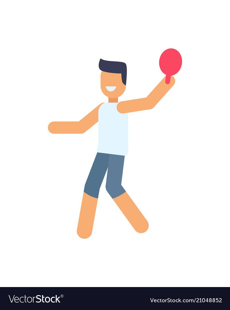 Boy holding racket poster