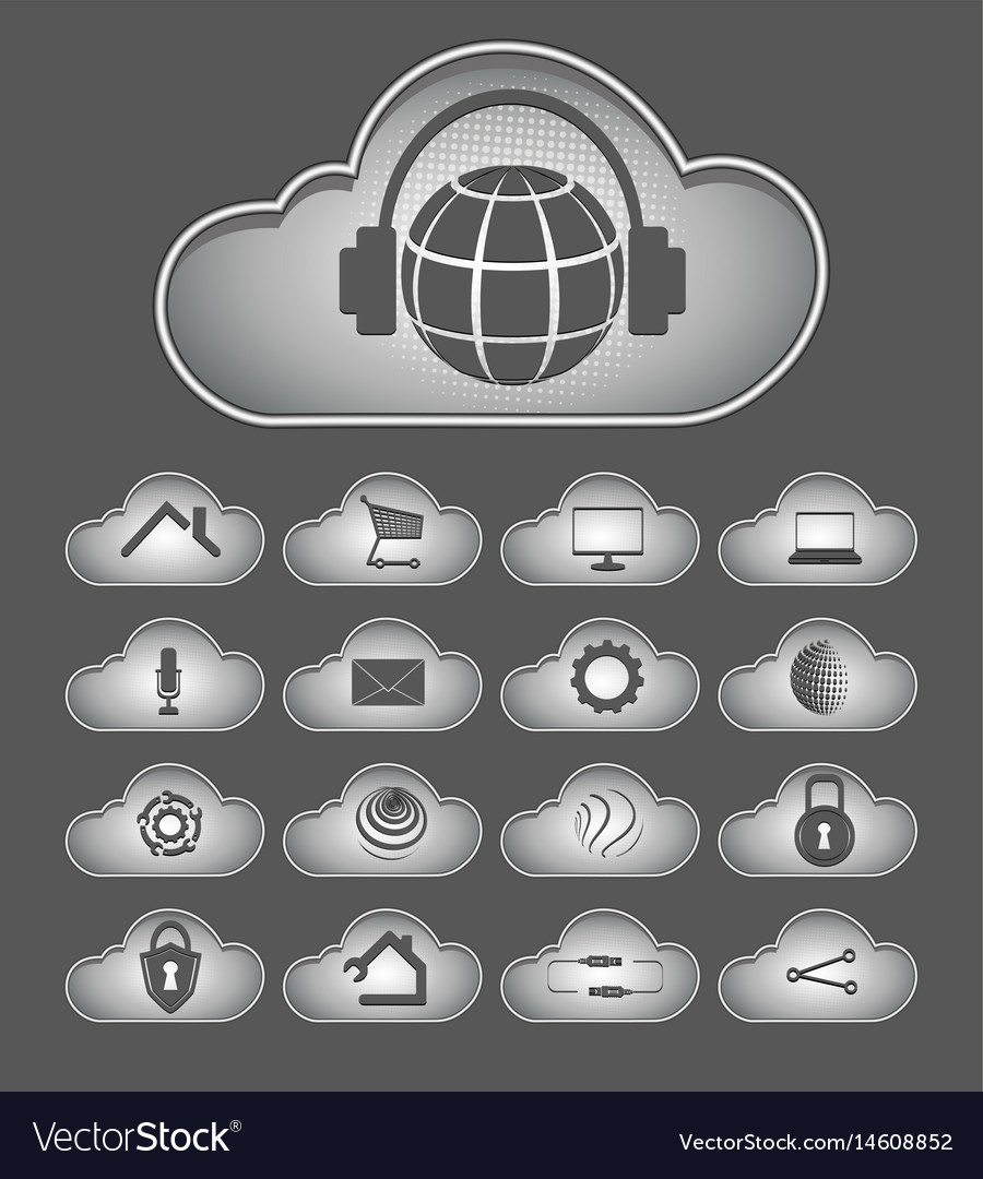 Computer cloud with attributes of the internet vector image