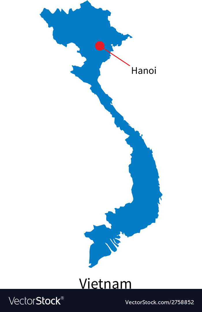 Detailed map of Vietnam and capital city Hanoi Vector Image