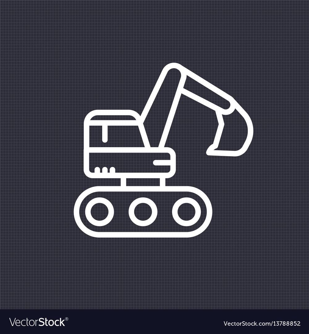 Excavator icon linear pictogram vector image