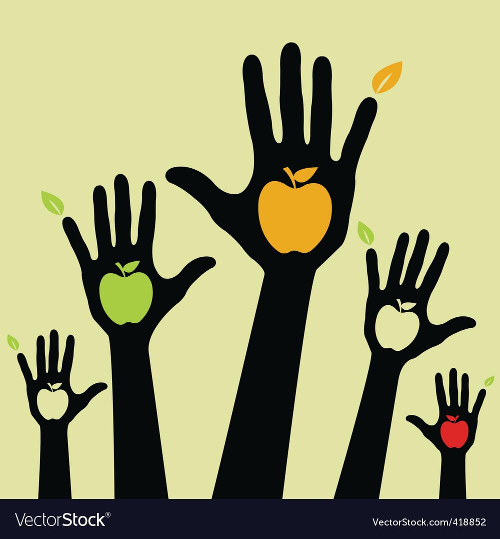Healthy apple hands vector image