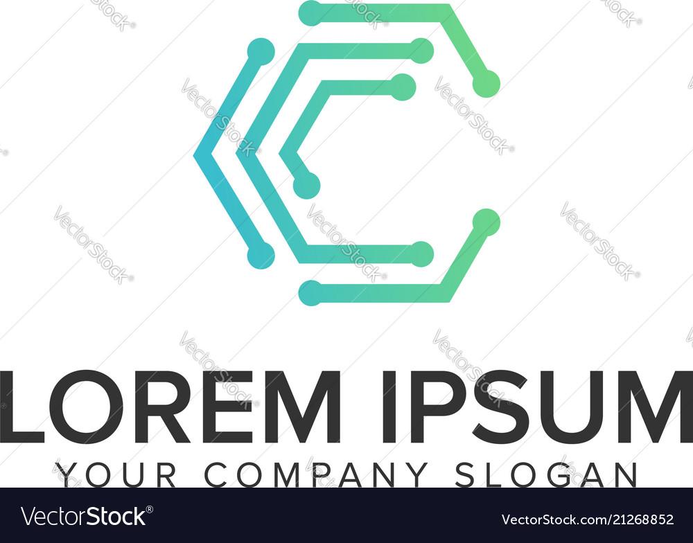 Letter c internet dot logo design concept template