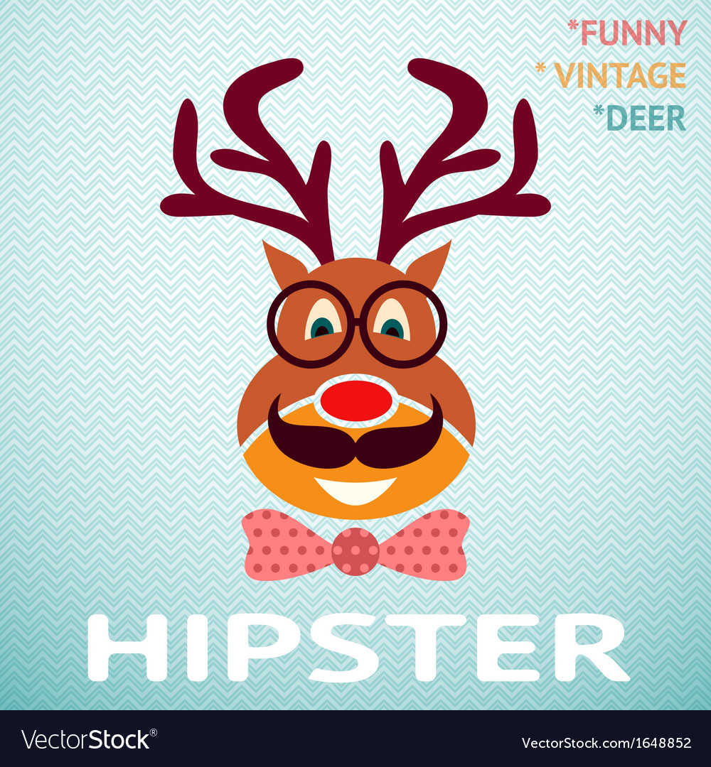 Portrait of funny vintage hipster deer with vector image