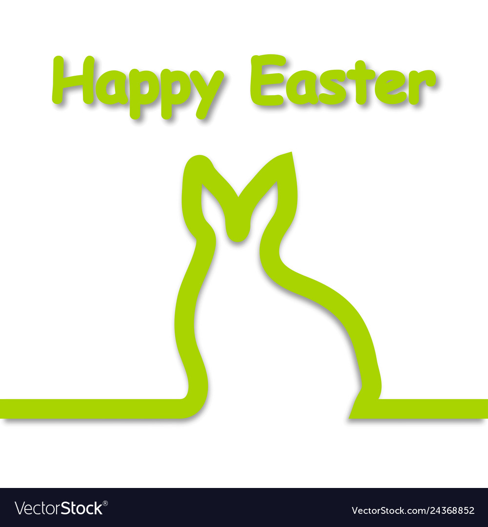 Rabbit outline with text happy easter