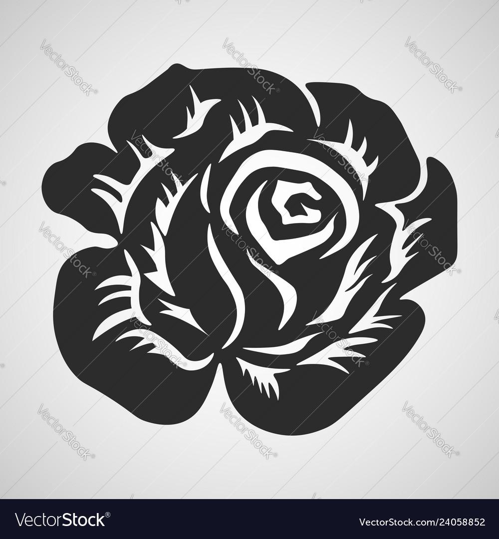 Rose Black Abstract Tribal Tattoo Decorative