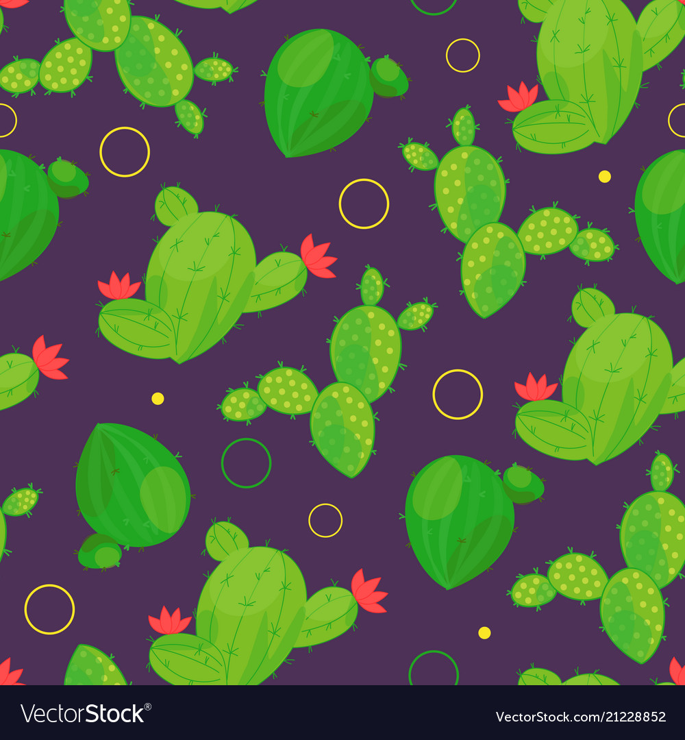 Seamless pattern of abstract cacti with dots on