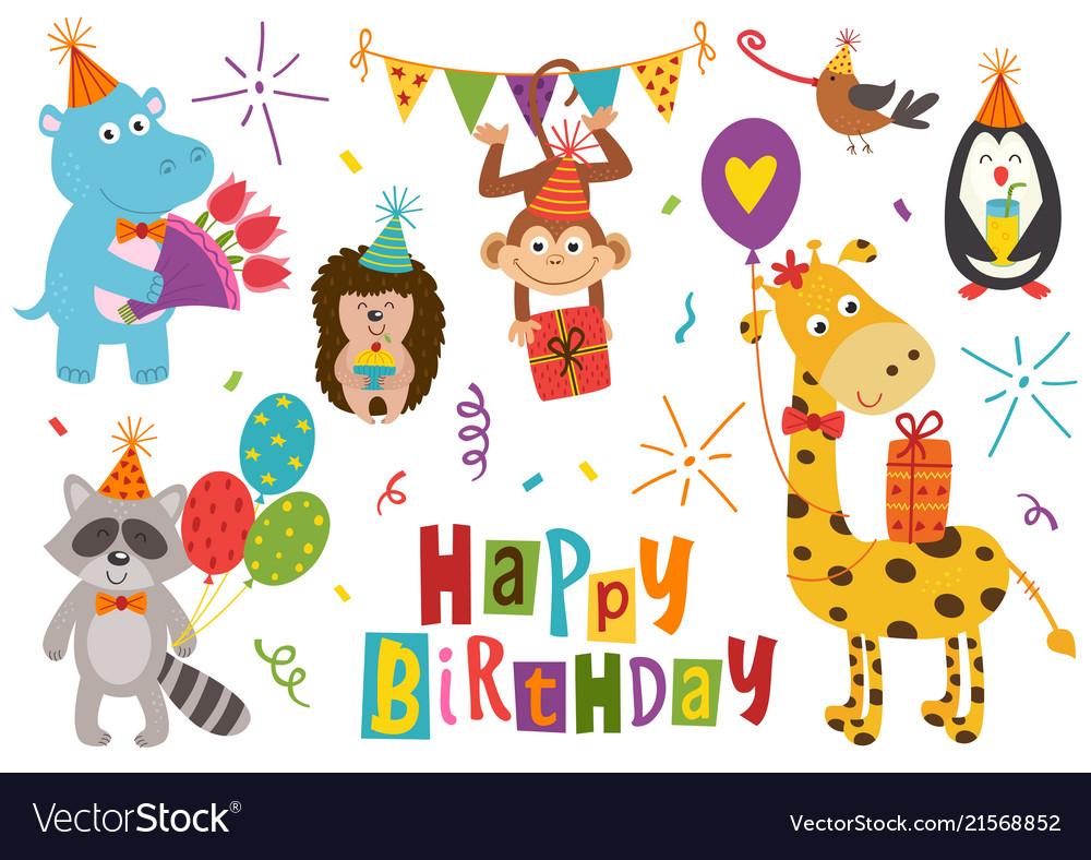Set of isolated funny animals happy birthday