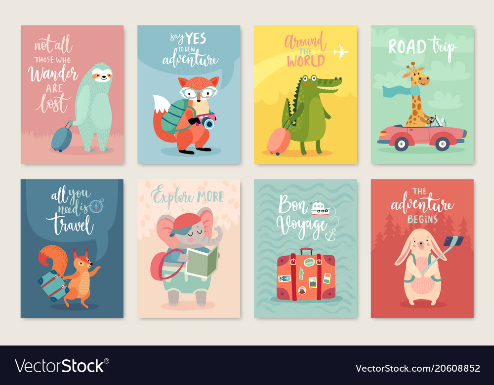 Travel animals card set hand drawn style