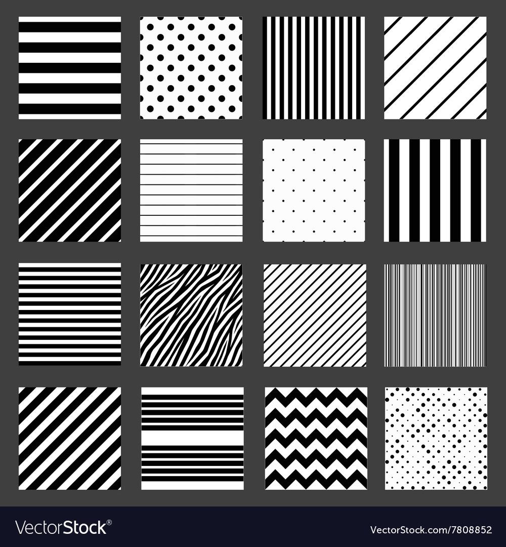 Unusual black white striped pattern set